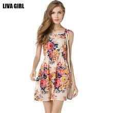 цена на LIVA Women Summer Dress 2018 Fashion Boho New Apricot Sleeveless O-Neck Florals Print Pleated Party Club-wear Formal Dress