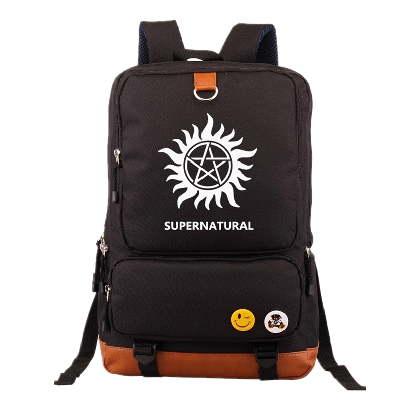 TV Show Supernatural SPN Backpack Knapsack Mochila Casual Backpacks Teenagers Men Women's Student School Bags Travel Laptop bag 2017 new masked rider laptop backpack bags cosplay animg kamen rider shoulders school student bag travel men and women backpacks