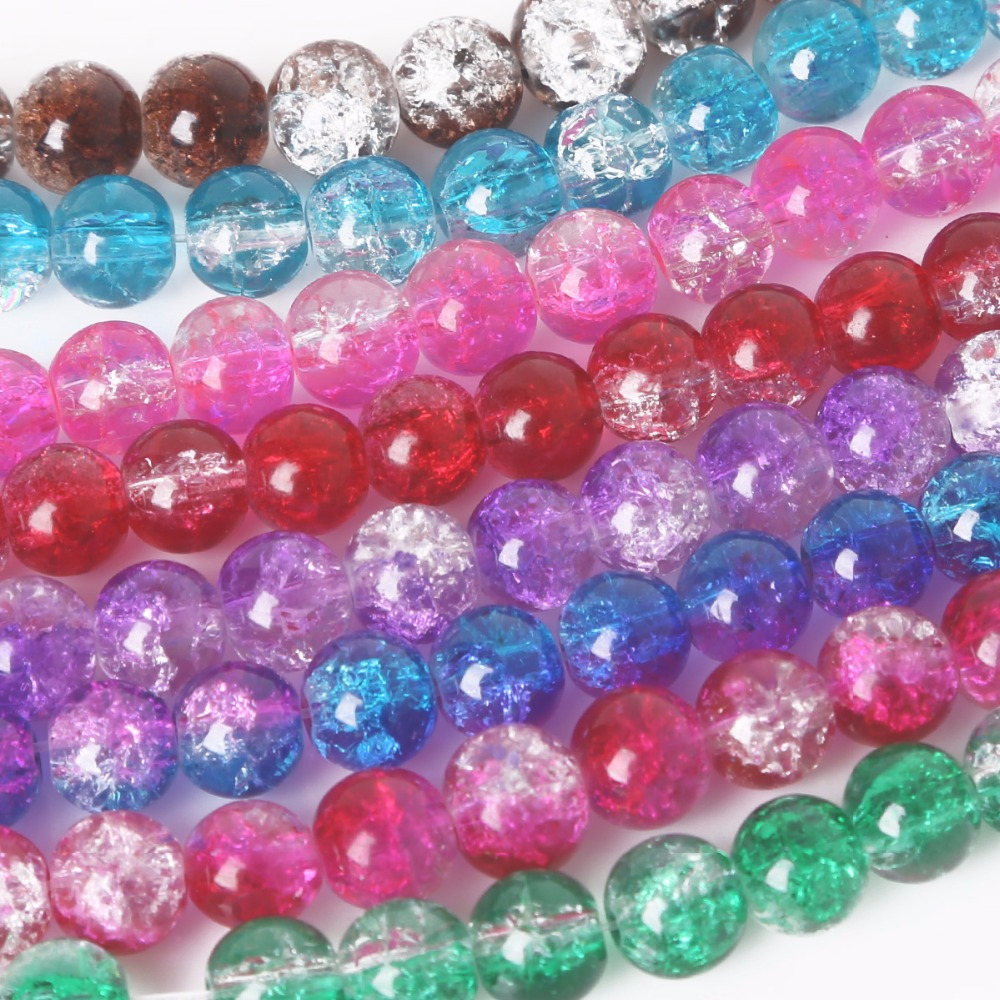 Wholesale Mixed Crystal Crack Glass Round Loose Spacer Beads Charm 4//6//8//10mm