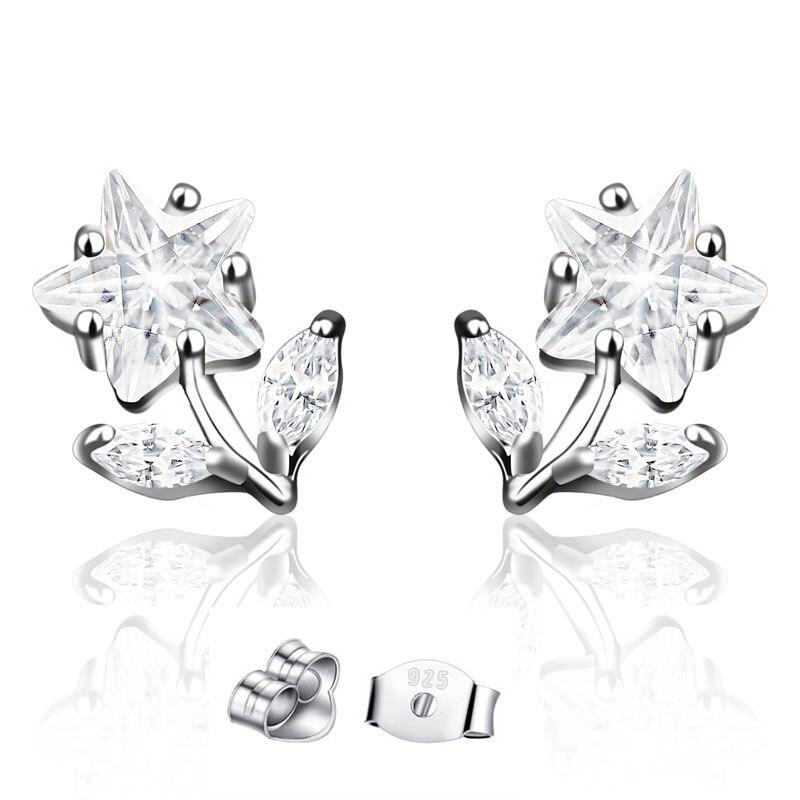 CHUKUI Genuine Silver 925 Jewelry Women Real Pure 925 Sterling Silver Star Flower Earrings Crystal Zircon Stud Earing 925 (3)