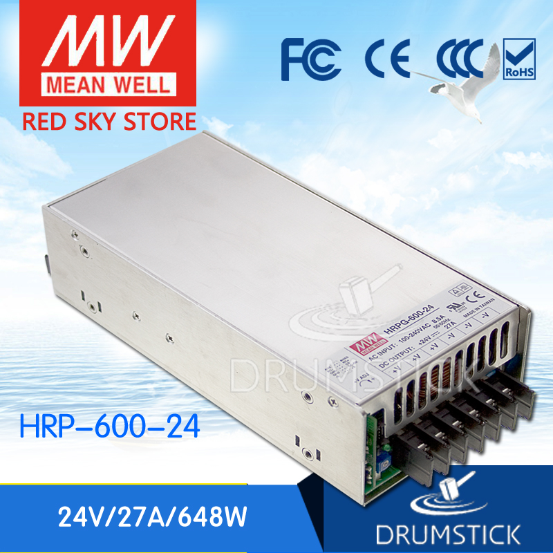 цена на Hot! MEAN WELL HRP-600-24 24V 27A meanwell HRP-600 24V 648W Single Output with PFC Function Power Supply