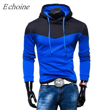 Echoine Color Patchwork Men Outdoor Sports Hoodies Autumn Winter Warm Fleece Outwear High Quality Excercise Sweaters Sportswear