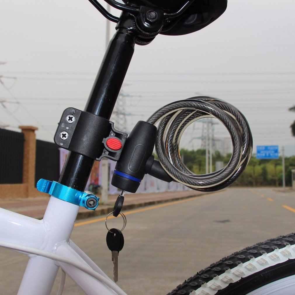 Tahan Lama Anti-Pencurian Sepeda Kunci Sepeda Kabel Stainless Steel Coil untuk Castle Motor Siklus MTB Sepeda Kunci Keamanan