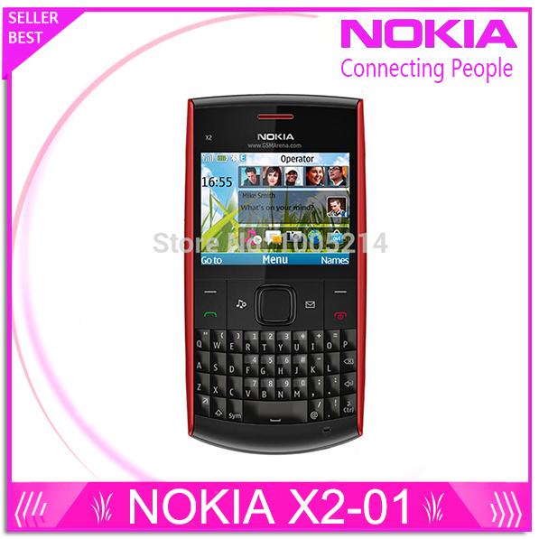 Reformado nokia x2-01 teléfono symbian os original x2-01 teléfonos celulares teclado de la computadora del teléfono móvil de la manera envío gratis