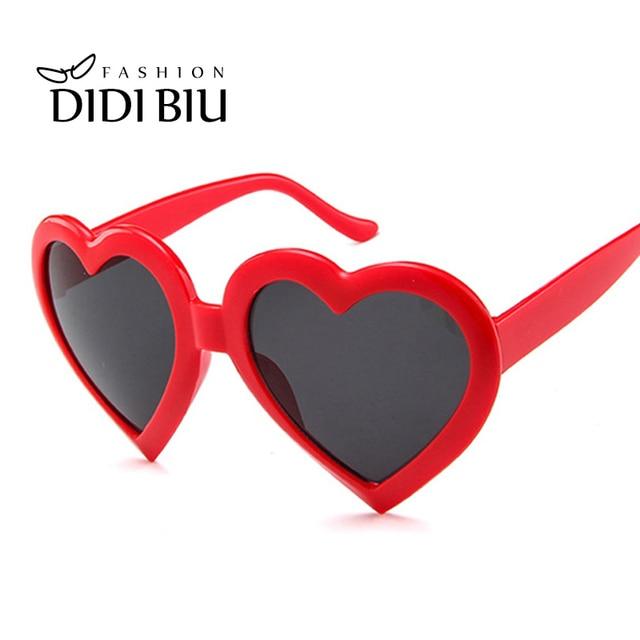 86afaeef64 Red Heart Shaped Sunglasses Women Big Frame White Sun Glasses Ladies Brand  Lovely Heart Eyewear Hip