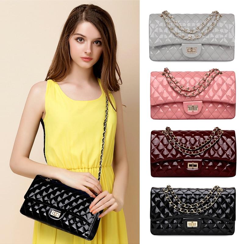 Luxury Women Bag Famous Brand Shoulder Chain Bag Classical FlapBright leather Crossbody Soild Handbag 2018 Bag For Women Casual