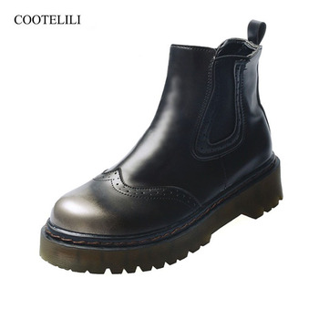 COOTELILI Fashion Brogue Boots For Women Ladies Ankle Boots Slip On PU Leather Women Shoes Rubber Boots Women Basic Shoes 35-39