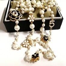 Kobiety koreański kamelia długi wisiorek naszyjnik z pereł biżuteria sautoir collier femme