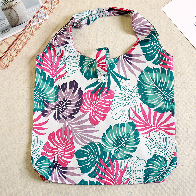 New Foldable Shopping Bag Leaf Eco Foldable Handy Reusable Tote Pouch Recycle Storage Bag Folding Shopping Oxford in Shopping Bags from Luggage Bags