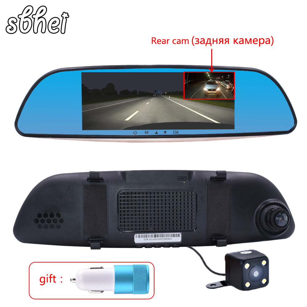 sbhei 6.5 IPS Car DVR Camera Mirror Dual Lens FHD 1080P Video Recorder Dash Cam Parking Monitor Auto Camera 5 inch car camera dvr dual lens rearview mirror video recorder fhd 1080p automobile dvr mirror dash cam