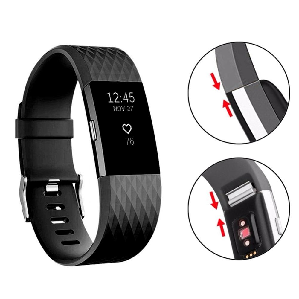 Breathable And Durable Silicone Wrist Watchbands For Fitbit Charge 2 Casual Adjustable Pin Buckled Watch Band For Men Women