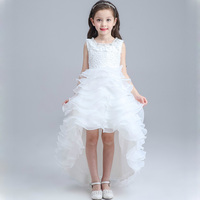2017 New Girls Dress Princess Baby Bridesmaid Girl Train Wedding Dress Long Tail Dress Kids Evening Party Dress DQ259