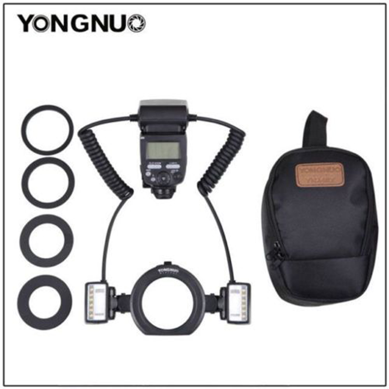 Yongnuo YN24EX E TTL Twin Lite Macro Flash Speedlite for Canon Camera 500d 600d 6 with Dual 2pcs Flash Head + 4pcs Adapter Rings