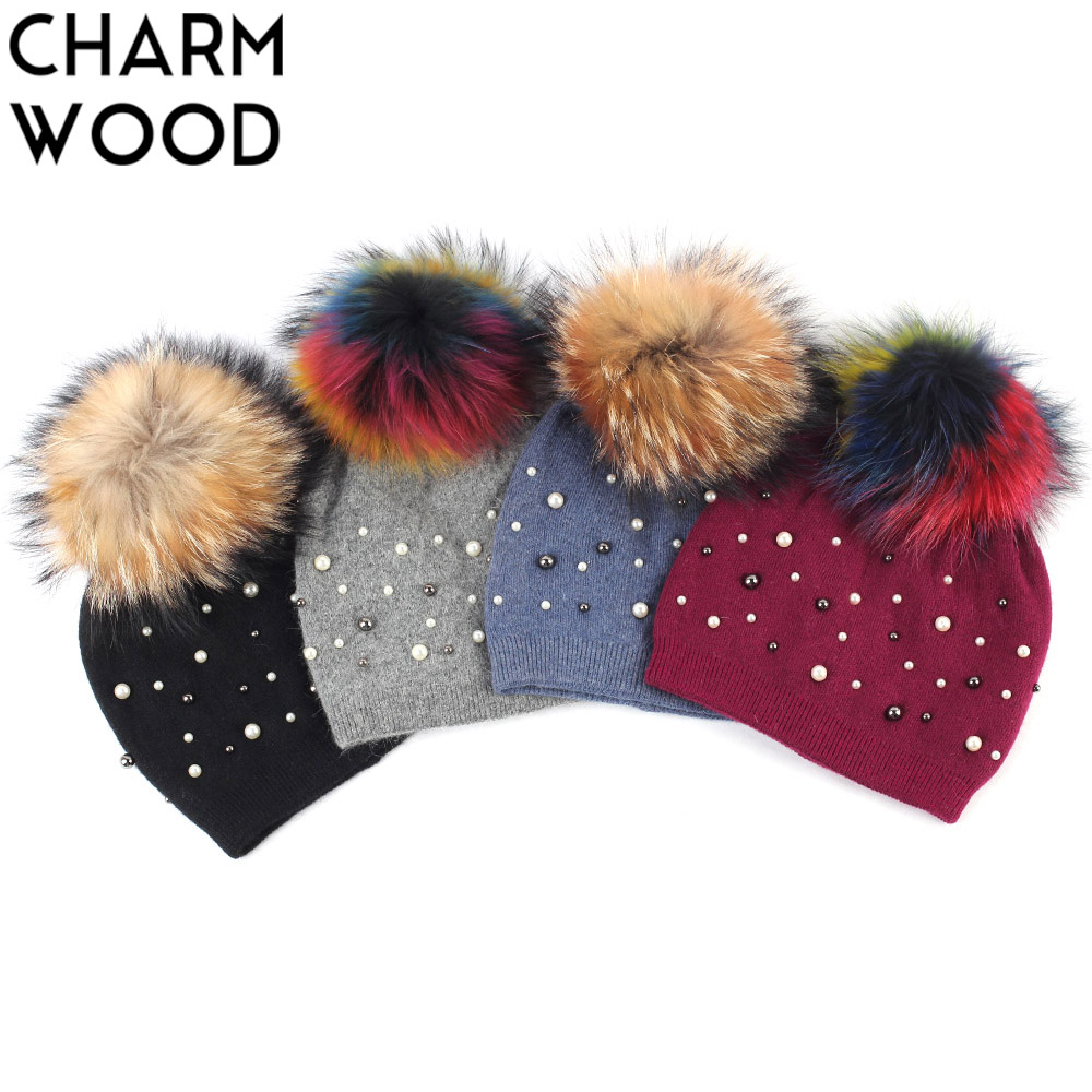 Women's Beanie Hat Winter Cashmere Knitted Pearl Slouchy Beanie With Raccoon Pompom For Female Wool Layer Skullies
