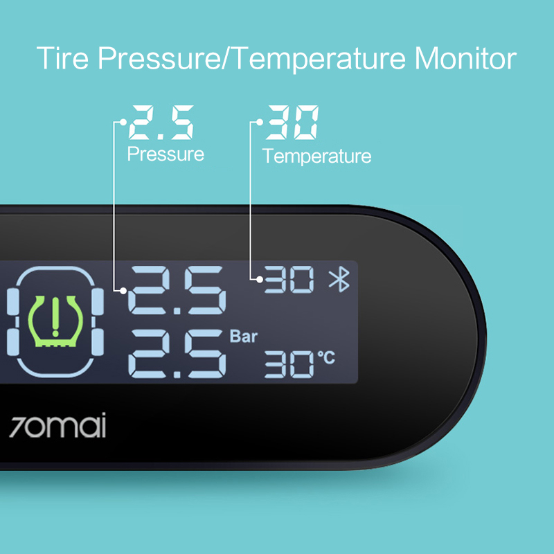 Image 3 - 70mai Tyre Pressure Sensor Tire Pressure Monitoring System Solar Power LCD Display Xiaomi 70 Mai TPMS Car Security Alarm System-in Tire Pressure Alarm from Automobiles & Motorcycles