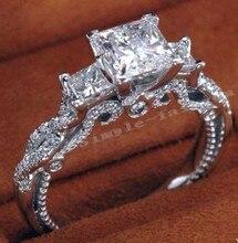 2016 de Las Mujeres de la vendimia Hecha A Mano el anillo de Tres piedras 2ct diamante Simulado Cz Engagement Wedding Band Anillo de plata Esterlina 925 para mujeres