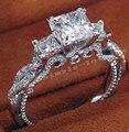 2016 mulheres do vintage anel de três pedra 2ct simulado anel de noivado de diamante Cz 925 de prata para mulheres