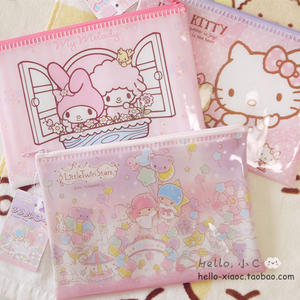 Cute Figures Little Twin Stars My Melody Hello KT Organizer PP Waterproof  File bag Figures  Gifts