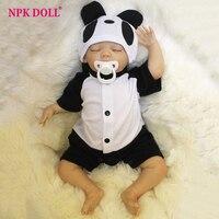 45 cm Bebes bebek Reborn El Yapımı Gerçek Görünümlü Bebek Bebek Kapalı Gözler Panda Giysileri Bebekler Çocuk Brithday Hediye Kız Brinquedos