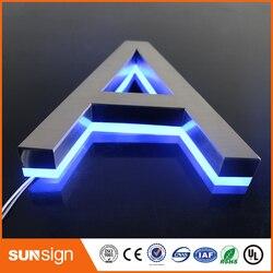 Señalización de acero inoxidable retroiluminada para publicidad, tienda iluminada en 3D, carteles de letras LED frontales