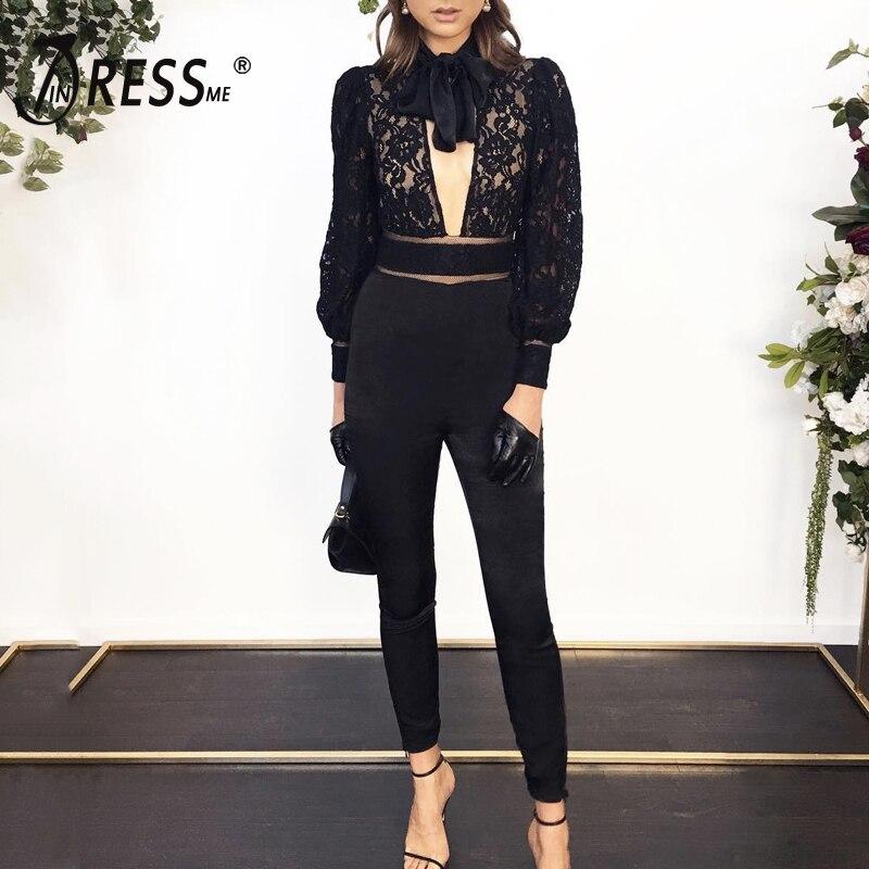 De Up Longueur Nouvelle Mode Black Col Échancré Bow Combinaisons Sexy Club Dentelle En V La Combinaison À Fête Toute Femmes Indressme 2019 HDWE9I2