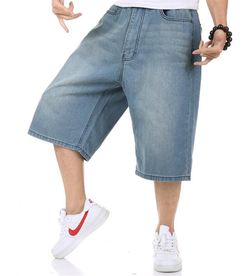 ФОТО Summer Mens Baggy Jeans Big Size Loose Pants Boy's Hip Hop Short Jeans Calf Length European American Syle Trousers Blue Large