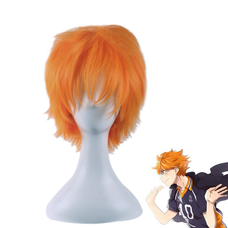 Haikyuu!! Karasuno Hinata Shoyo Wig Cosplay Costume Short Heat Resistant Synthetic Hair Halloween Party Role Play Wigs