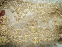 gold lace trim, gold embroidered mesh lace scallop trim lace embroidered kimono