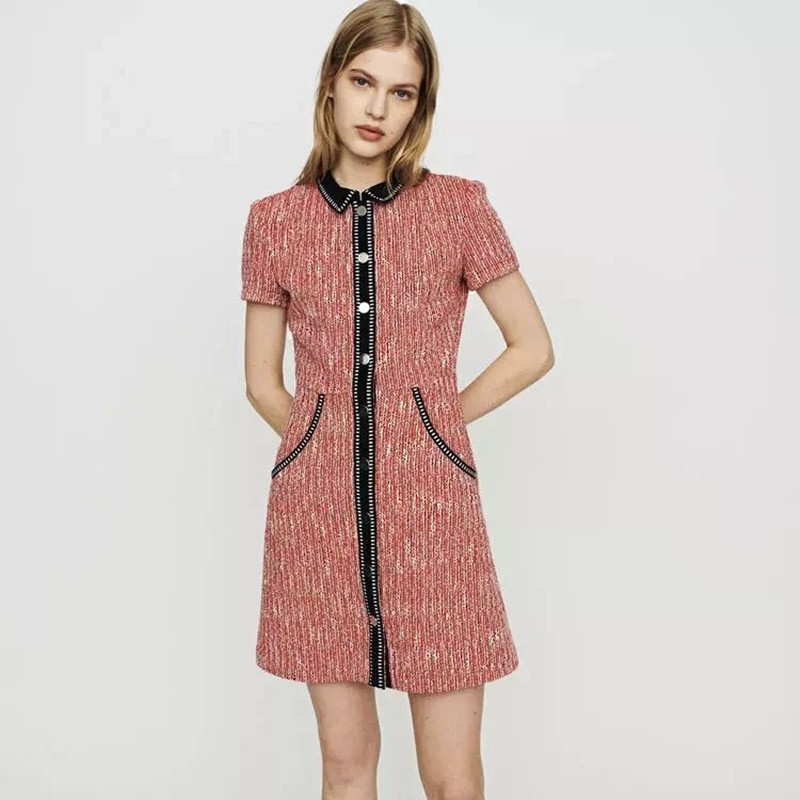 2019 New Women Pink Tweed Slim Fit Mini Dress