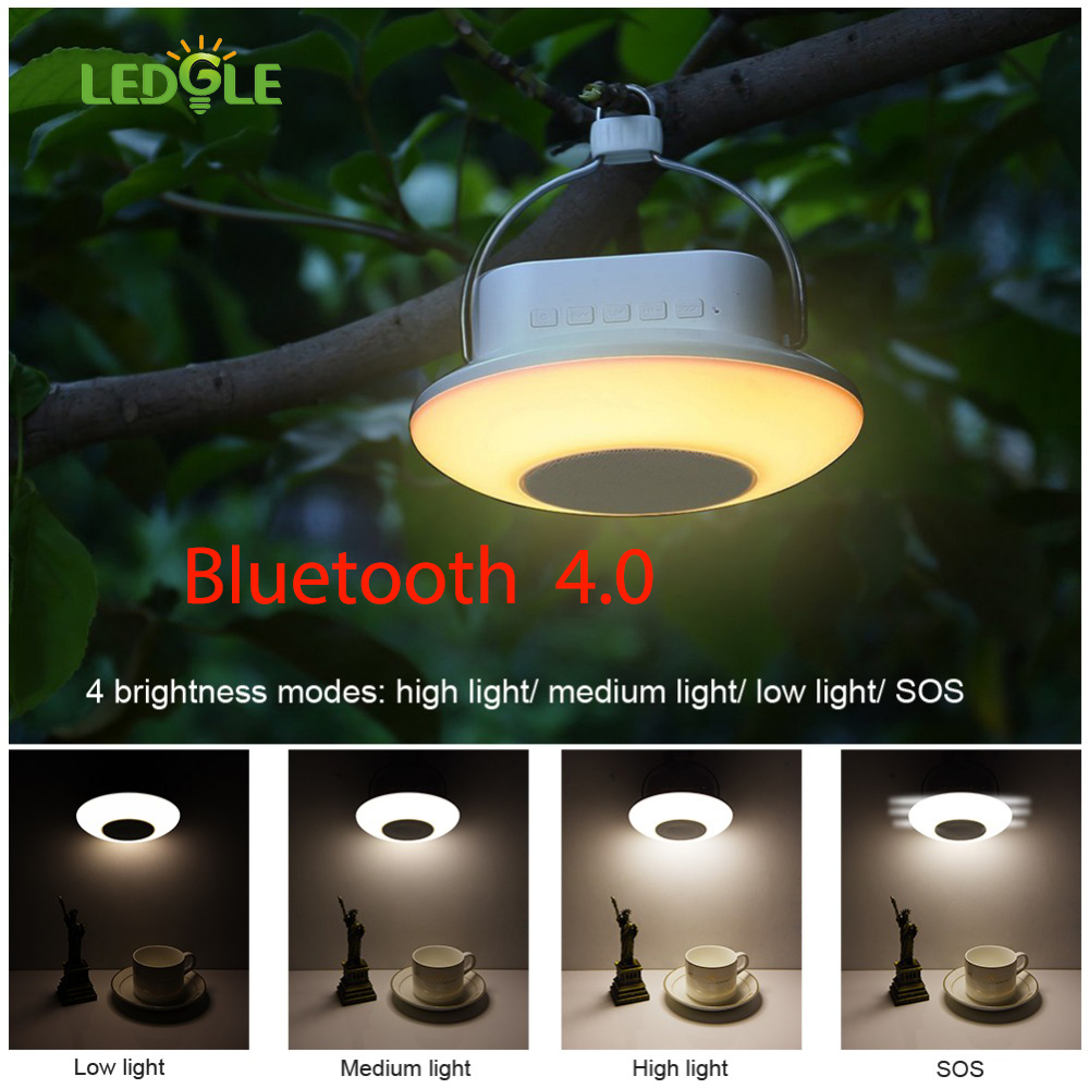 LEDGLE 7Colors Bluetooh Multi-functional USB Charging Camping Lantern Dimmable Lamp Touch Control Warm Light 4 Light Modes