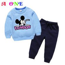 Autumn Spring mickey letter print baby sweatshirt+ pants boys girls 2 pcs set kids suit children casual clothes christmas outfit