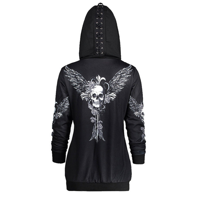 1color 5 Size Autumn Kpop Clothes Black Women Hoodies Sweatshirts Punk Long Sleeve Skull Wings Print Hooded Jacket Zipper Coat 2
