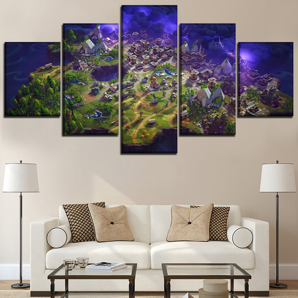 5 pieces fortnite role painting game poster for modern living room decor modular pictures. Black Bedroom Furniture Sets. Home Design Ideas