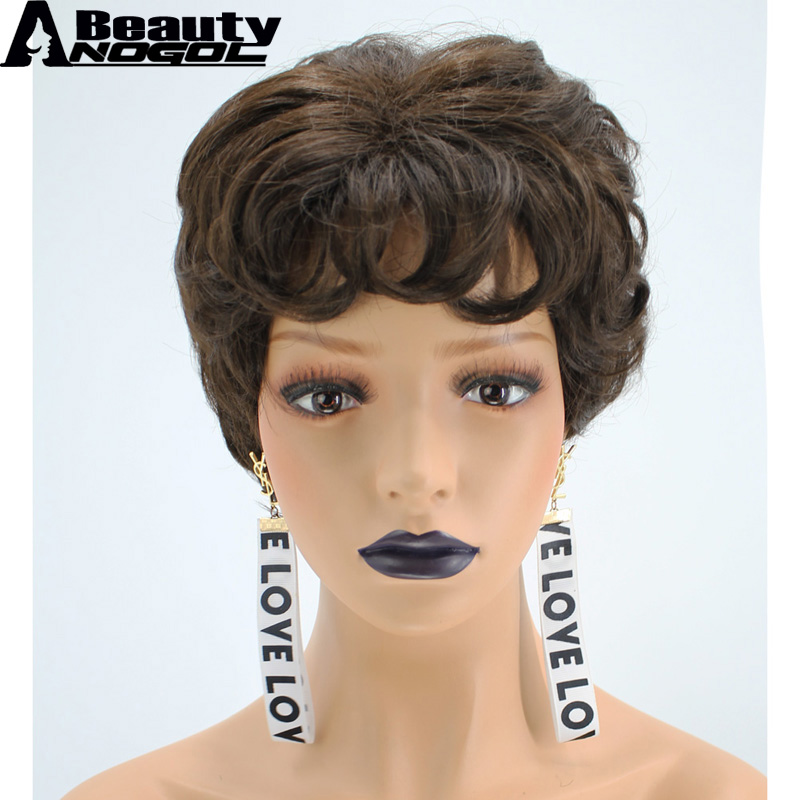 ANOGOL BEAUTY Hair Cap+2# Dark Brown Short Natural Wave High Temperature Fiber Synthetic Wig For Womens Ladies Girls With Bangs