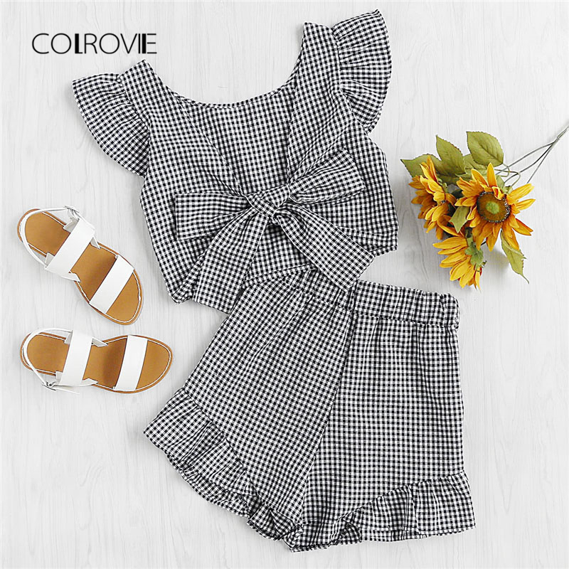 COLROVIE Gingham Frill Trim Bow Tie Back Top With Shorts 2018 New V Neck Short Sleeve Women Sets Ruffle Two Piece Sets exaggerate bow tie neck ruffle trim top