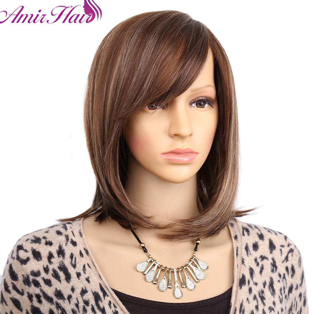 Amir Hair Synthetic Wigs Brown Bob Wig Blonde And Dark Brown Natural Straight Short Hair Wig Heat Resistant Fiber Hair