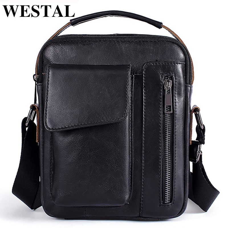 WESTAL Men's Shoulder Bag For Men Genuine Leather Bag Casual Crossbody Bags Top-handle Handbags Small Messenger Bags Male 8211