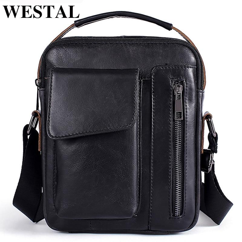 WESTAL Men's Shoulder Bag For Men Genuine Leather Bag Casual Crossbody Bags Top-handle Handbags Small Messenger Bags Male 8211