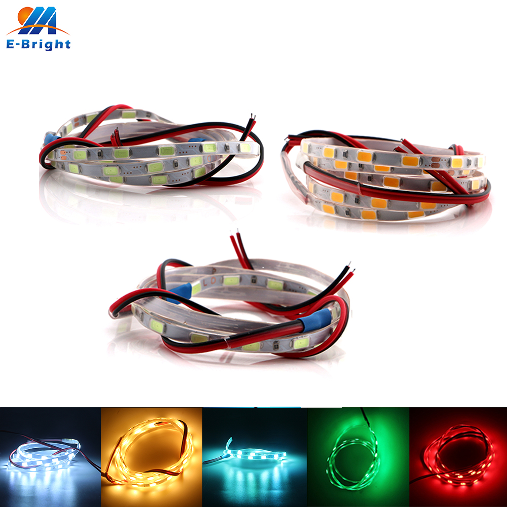4pcs 5V USB 5630 60 SMD 90cm LED Strip Car Light Strips Decorative Lights Warning DRL 6 Colors High Lumens Free Shipping