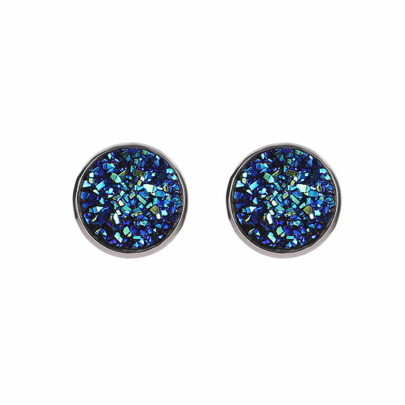 SexeMara New Vintage Imitation Stone Round Gypsophila Crystal Stud Earring 10 Colors Hypoallergenic Engagement Wedding Jewelry