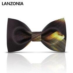 Lanzonia mannen Business Bowtie Satijn Zwart en Gouden Streep Print Wedding Bow tie