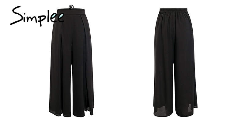 Simplee Elegant women summer pants Wide leg elastic high waist split trousers Casual streetwear fashion female palazzo pants 14