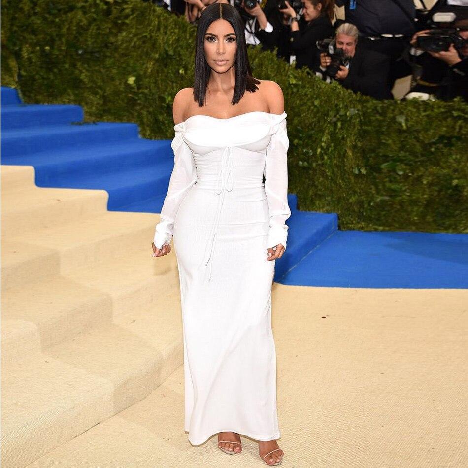 Women Off The Shoulder White Dress Kim Kardashian Slash Neck Fashion ...