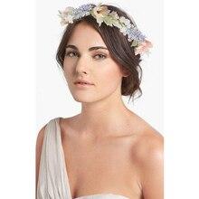 Новая Мода Boho цветок невесты корона женские свадебные аксессуары для волос венок девочка Цветочная повязка на голову для вечерние фото