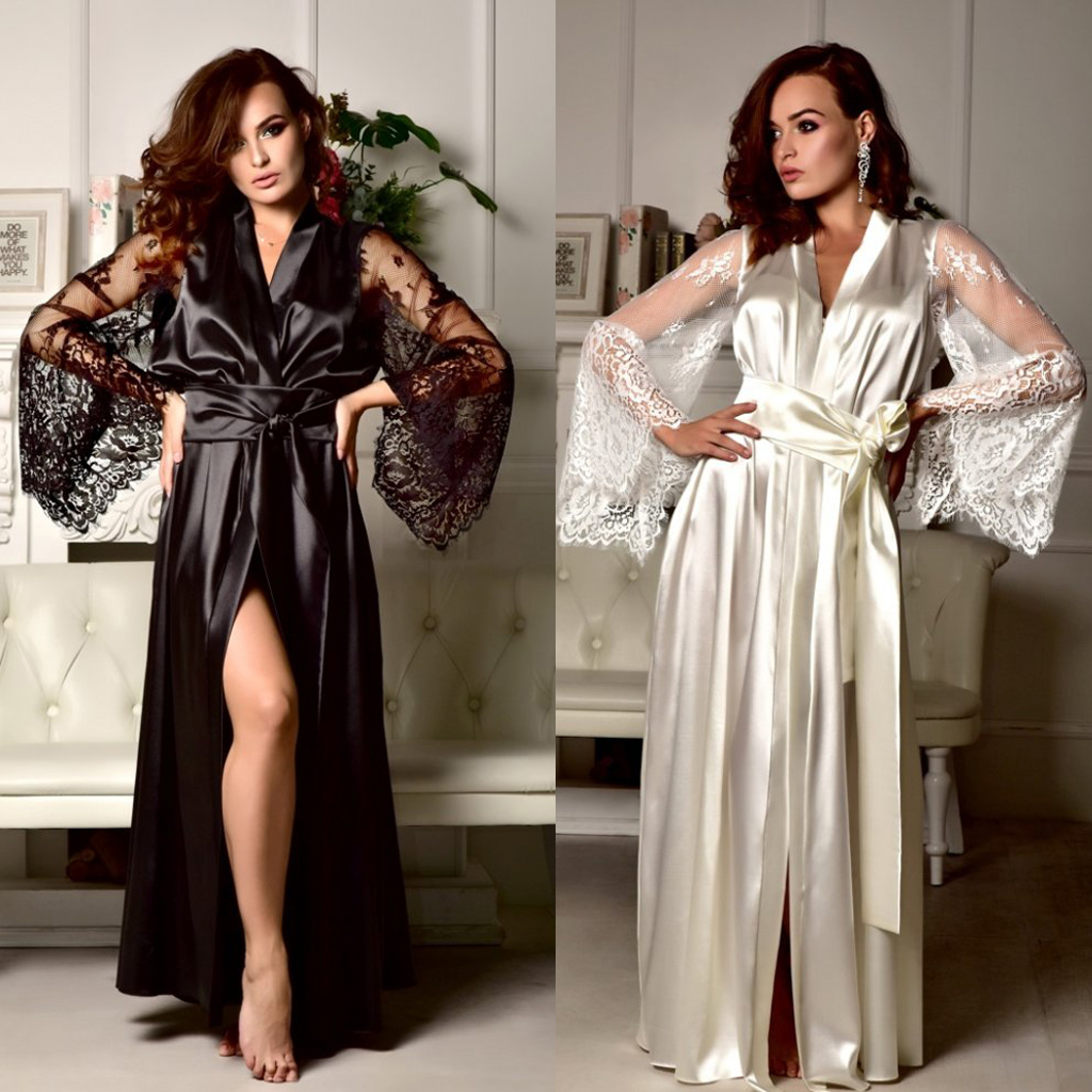 Women Sexy Lace Flare Sleeve See Throught Dress Deep V-Neck Solid Color Satin Kimono Long Robe Dressing Gown Sexy Maxi Dress