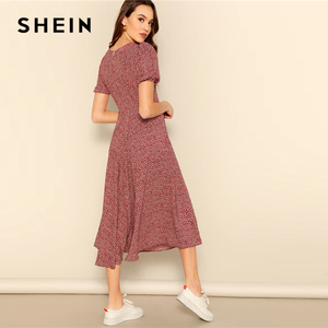 Image 2 - SHEIN Button Front Allover Print V Neck Dress Women 2019 Posh Summer Burgundy A Line Short Sleeve Fit and Flare Dresses