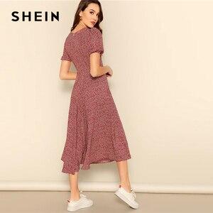 Image 2 - SHEIN przycisk przodu Allover drukuj sukienka z dekoltem w serek kobiety 2019 Posh lato burgundii linii krótkim rękawem Fit i rozkloszowane sukienki