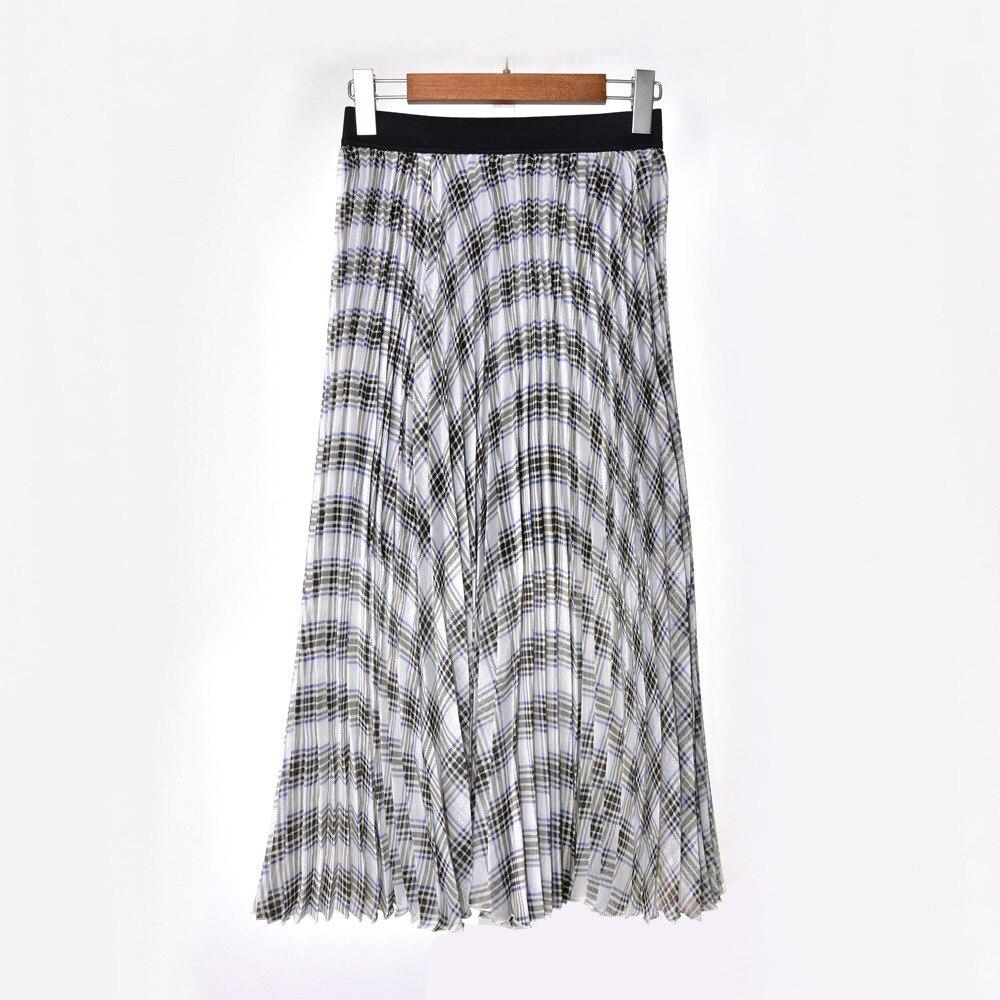 Женская клетчатая длинная юбка плиссированная женская повседневная юбка до середины икры