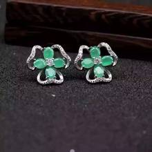 natural green emerald earrings 925 silver Natural gemstone earring women personality Elegant fashion Clover earrings for party