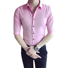 6de68dcfbd0 2018 Summer New Youth Korean Version Of The Slim Shirt Men s Fashion Casual  Pure Seven-sleeve Simple Wild British Style
